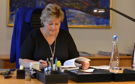 Erna Solberg har fått brev frå Nynorsk Forum. Foto: SMK