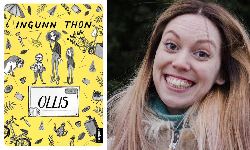 Ingunn Thon er kjent frå NRK Super. «Ollis» er bokdebuten hennar på Samlaget. Foto: Andrea Rygg og omslaget