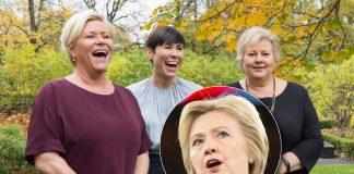 Finansminister Siv Jensen, utanriksminister Ine Eriksen Søreide og statsminister Erna Solberg styrer Noreg, medan Hillary Rodham Clinton måtte sjå seg slått av Donald Trump i presidentvalet i USA i 2016.