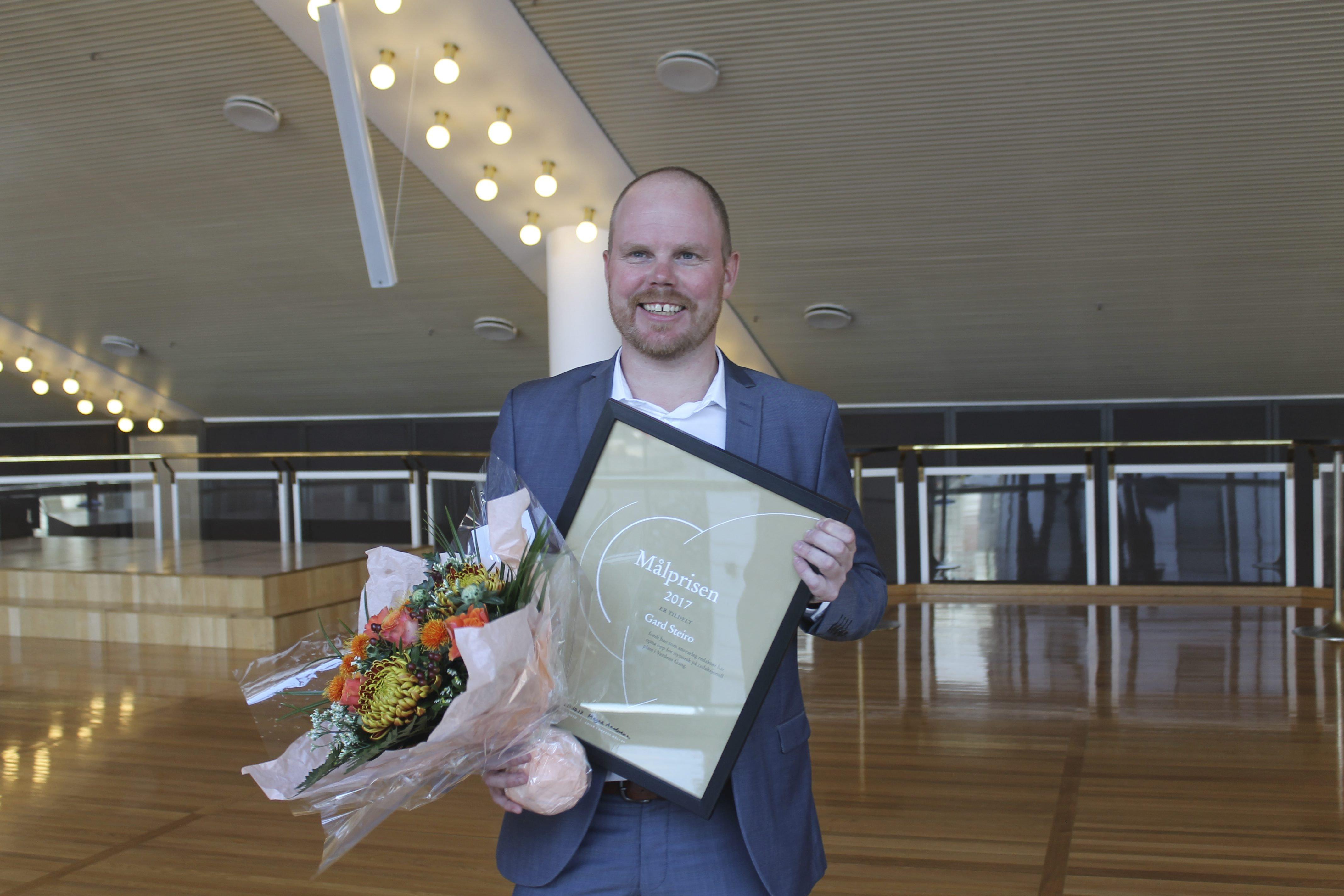 VG-redaktør Gard Steiro er vinnaren av Målprisen 2017. Foto: Kjell Åsmund Sunde