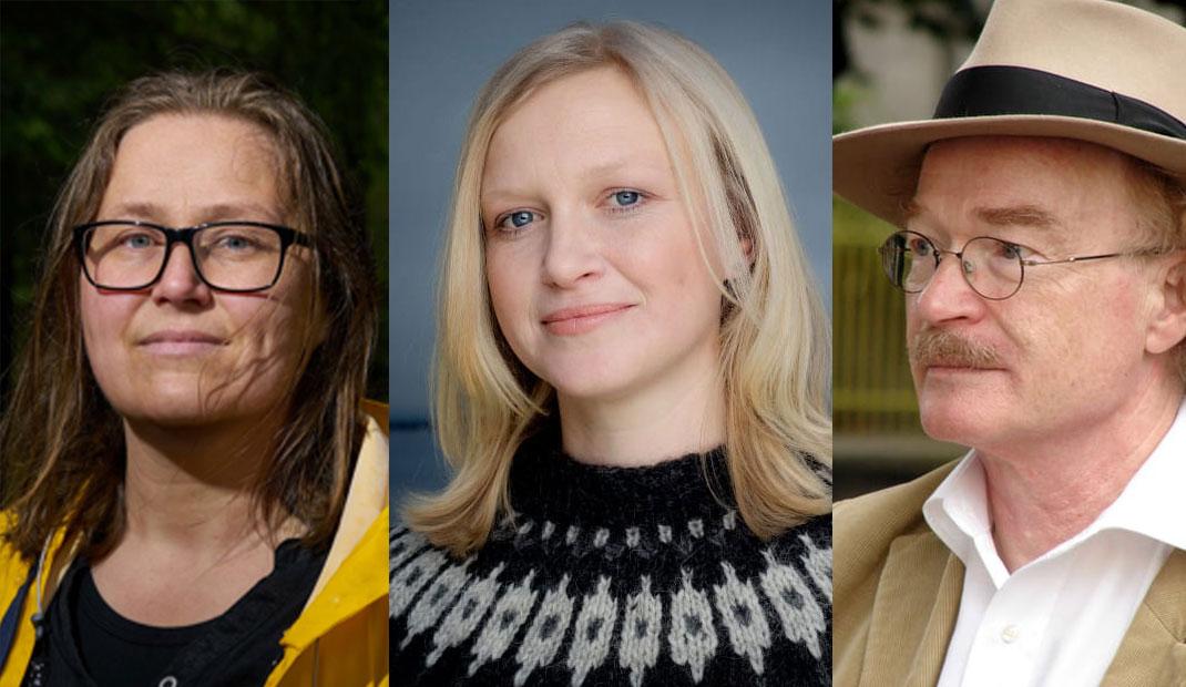 Olaug Nilssen, Maria Parr og Knut Ødegård kan vinna Brageprisen i år. Foto: Foto: Bent R. Synnevåg, Agnete Brun og Cappelen Damm