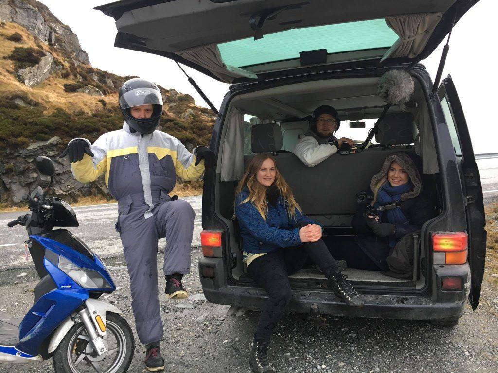 Bilete frå opptak frå venstre : Aleksander Goksøyr, Emily Louisa Millan Eide, Sigurd Stubø Sandberg og Agnete Husebye. Foto: Per Eide