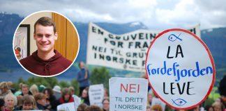 KrF-politikar Tore Storehaug (innfelt) vil ha ei ny vurdering av gruvedeponiet i Førdefjorden, som mellom andre Natur og Ungdom har kjempa mot.