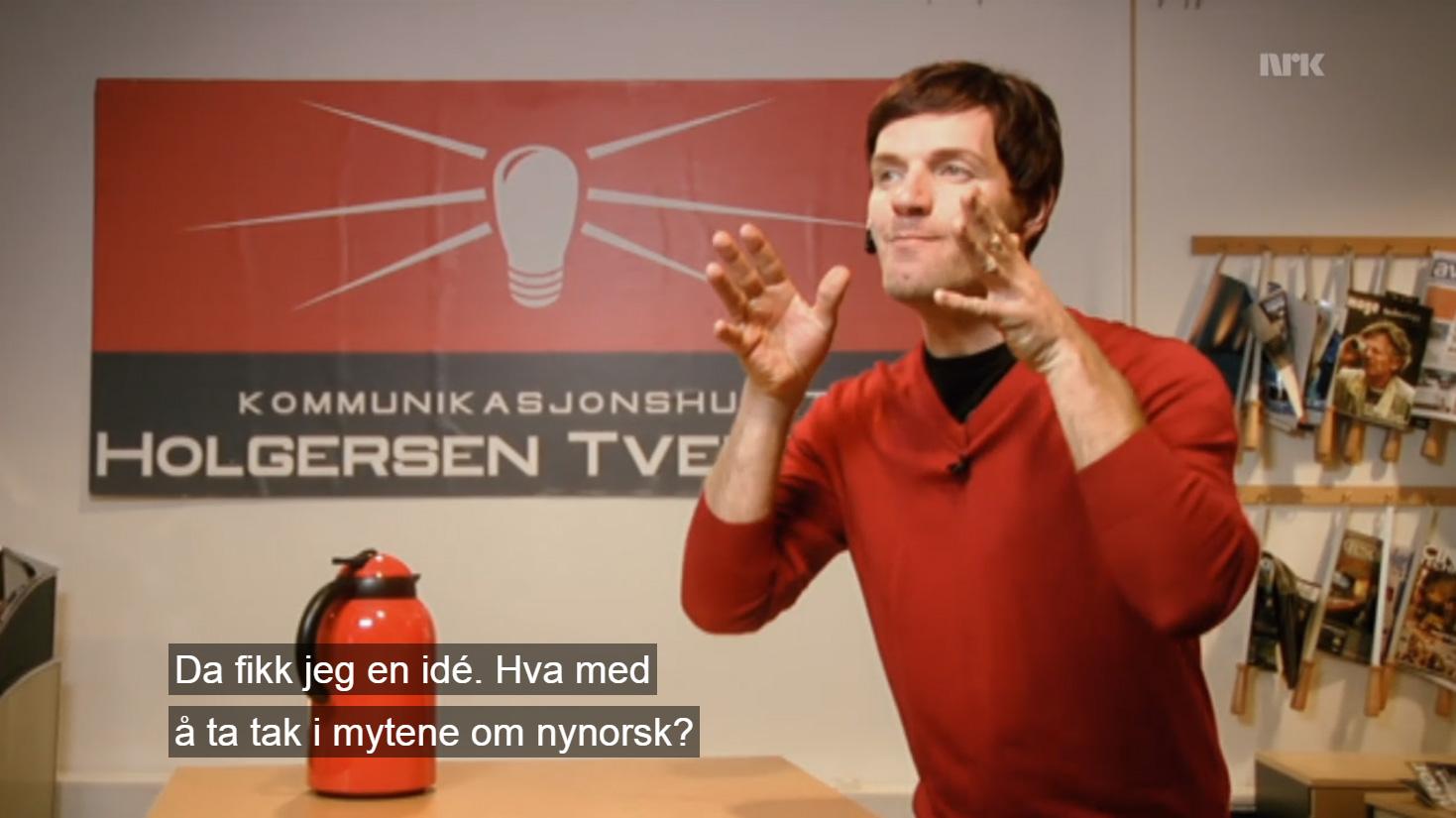 Bård Tufte Johansen som Holgersen i kommunikasjonshuset Holgersen & Tversnes. Skjermdump frå NRK.
