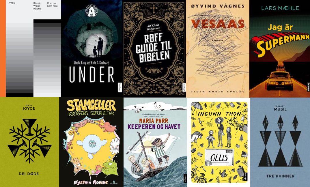 Omslag for boka Ti bokfavorittar på nynorsk frå 2017