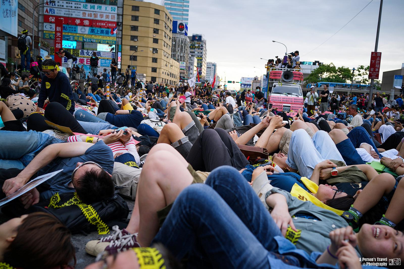 Frå demonstrasjonen mot atomkraftverk i Taipei, 2014.