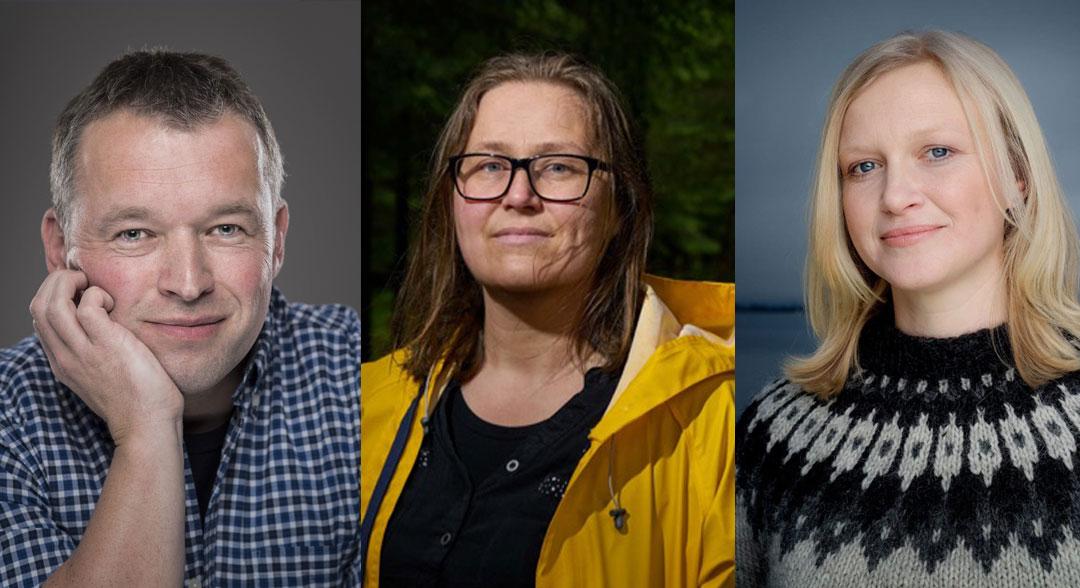 Arnfinn Kolerud, Olaug Nilssen og Maria Parr er nominerte til Kritikarprisen. Foto: Per Eide, Bent R. Synnvåg og Agnete Brun, Samlaget