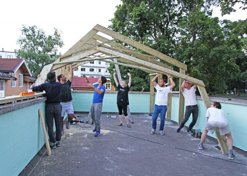 Under oppussinga av paviljongen på mottaket på Torshov. Foto: Privat