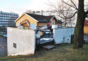Sånn såg paviljongen på Torshov Transittmottak ut før Makers` Hub sette inn jarnet. Foto: Makers`Hub