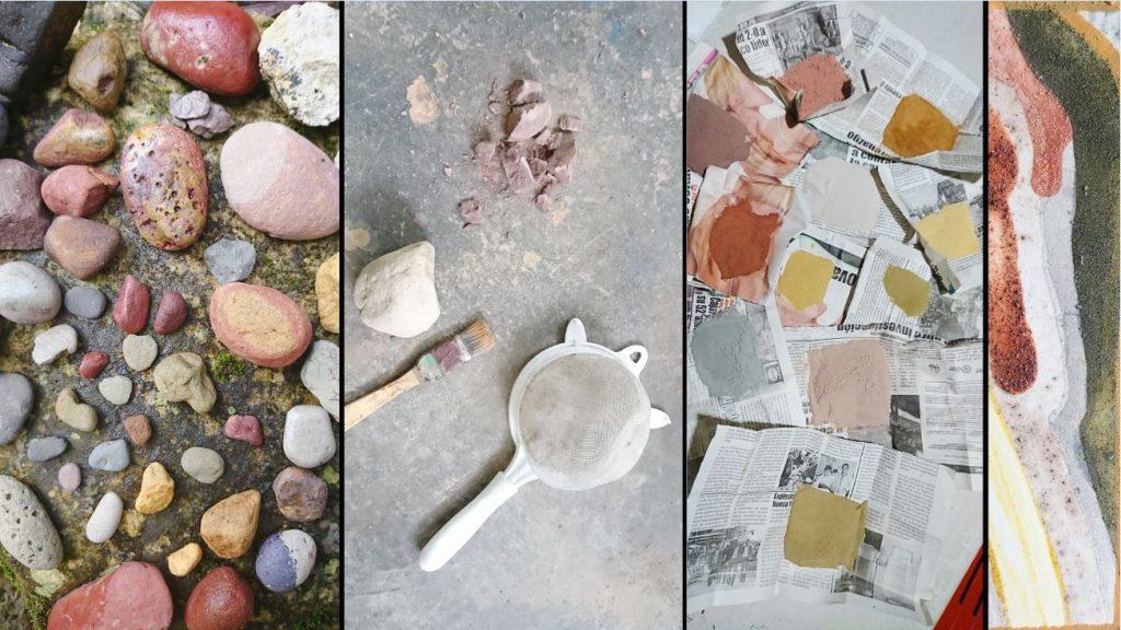 I Peru lærte ho å finne fargar på bakken. Her kan dere se prosessen fra stein til pulver og så til maleri. Foto: Privat