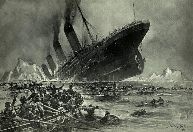 Titanic søkk. Foto: Wikimedia commons