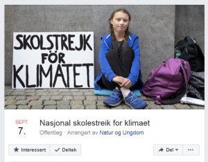 Skjermdump av Facebook-sida til streiken som vert arrangert fredag 7. september klokka 12.00.