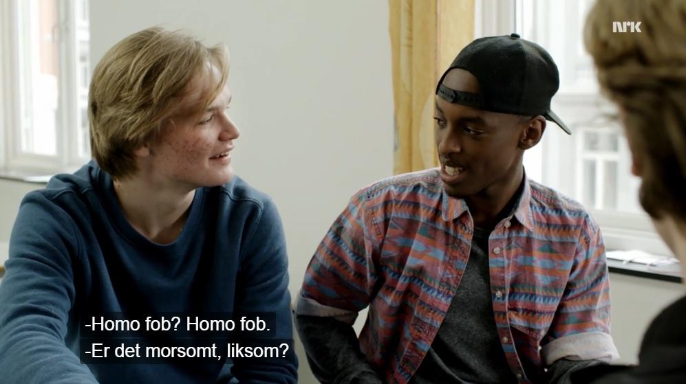 I tredje sesong av Skam opplever Mahdi det som stigmatiserande at «heile skulen» trur han er homofob og muslim. Skjermdump: NRK P3