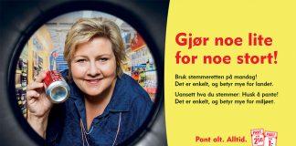 Før valet i 2014 stilte norske partileiarar opp i ein kampanje frå Norsk Resirk (no Infinitum) for å få folk til å stemme og pante. No lønar det siste seg endå meir. Foto: Apeland