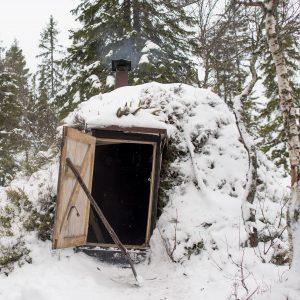 Denne hytta på Austlandet ein stad er laga av stokkar. Taket er av knotteplast og torv. Foto: Marius Nergård Pettersen
