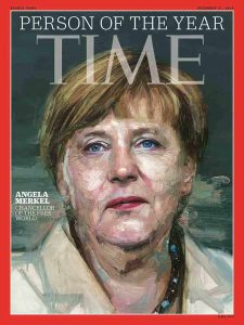 I 2015 kåra TIME magazine Angela Merkel til årets person. Omslag: TIME magazine