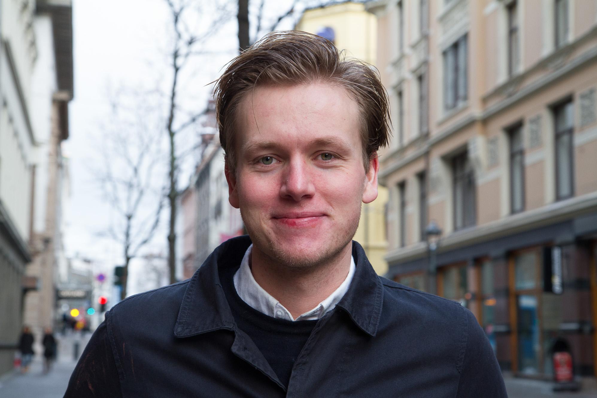 Sondre Hansmark, leiar for Unge Venstre. Foto: Beate Haugtrø