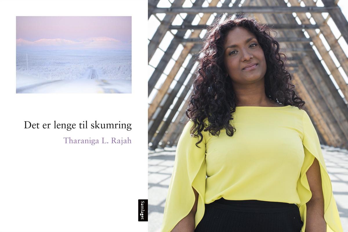 Omslag for boka Kreativ vri på dystopi-trenden: «Det er lenge til skumring» av Tharaniga Rajah
