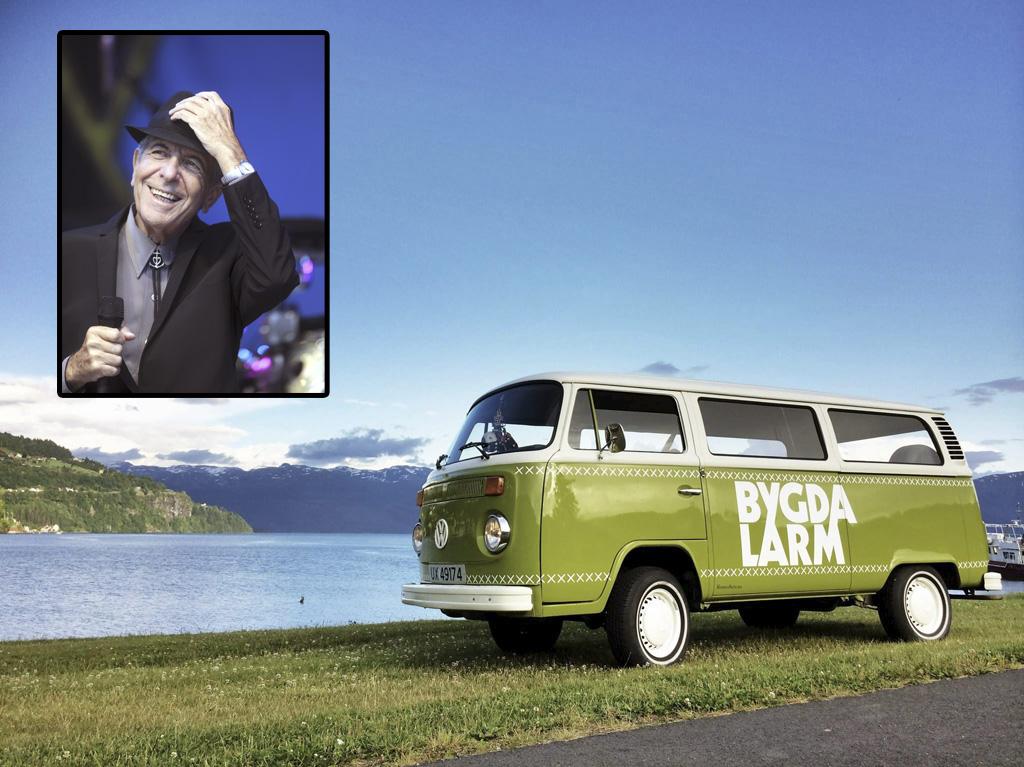 Bygdalarm i Norheimsund vil gjerne ha gjendiktingar av Leonard Cohen-songar på nynorsk eller dialekt til festivalen i sommar. Cohen sjølv gjesta Molde Jazzfestival i 2009. Portrettfoto: Vidar Ruud / NTB scanpix / NPK.  Bakgrunnsfoto: Bygdalarm.