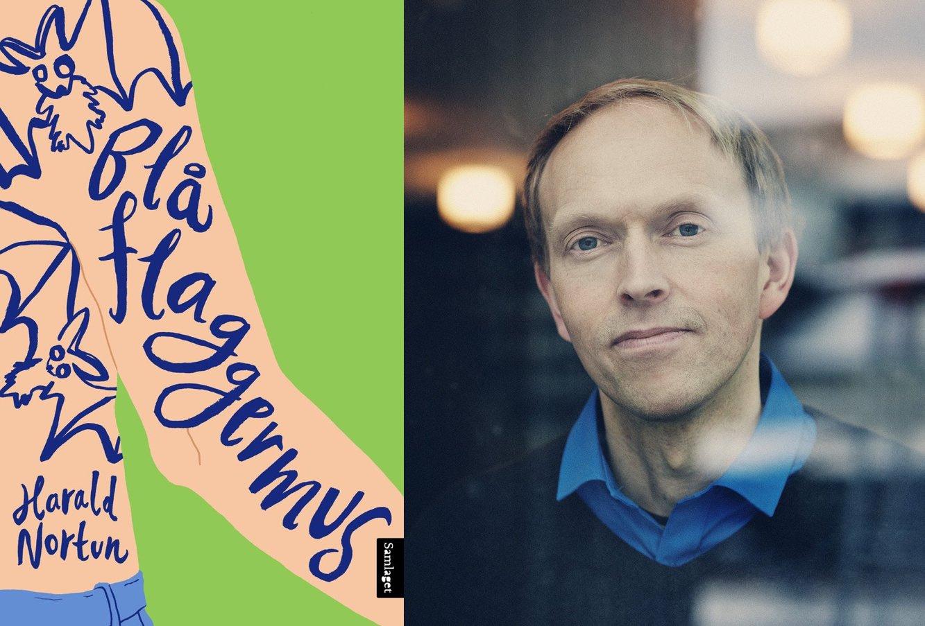 Omslag for boka «Blå flaggermus» av Harald Nortun: – Morosam, rå, gripande og enormt godt skriven