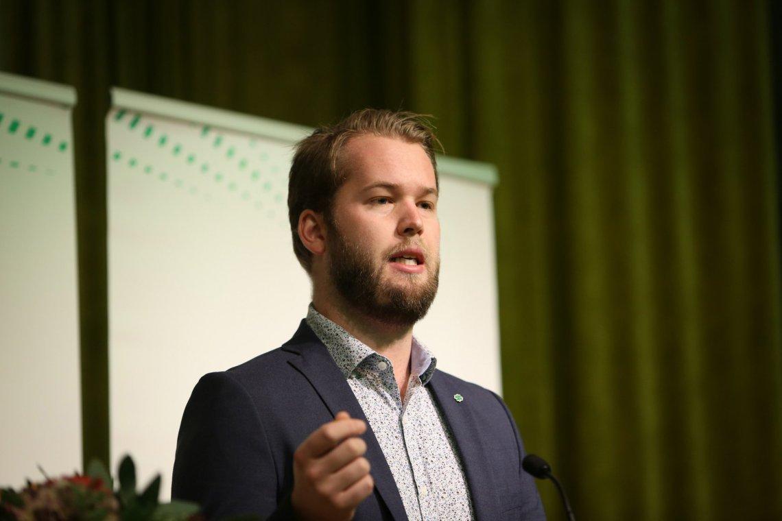 På Senterungdommen sitt landsmøte 8-10 november vart 23-åringen Torleik Svelle valt til ny leiar. Pressefoto.