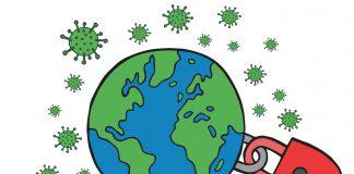 Jordkloden er låst, men koronavirus svevande rundt.