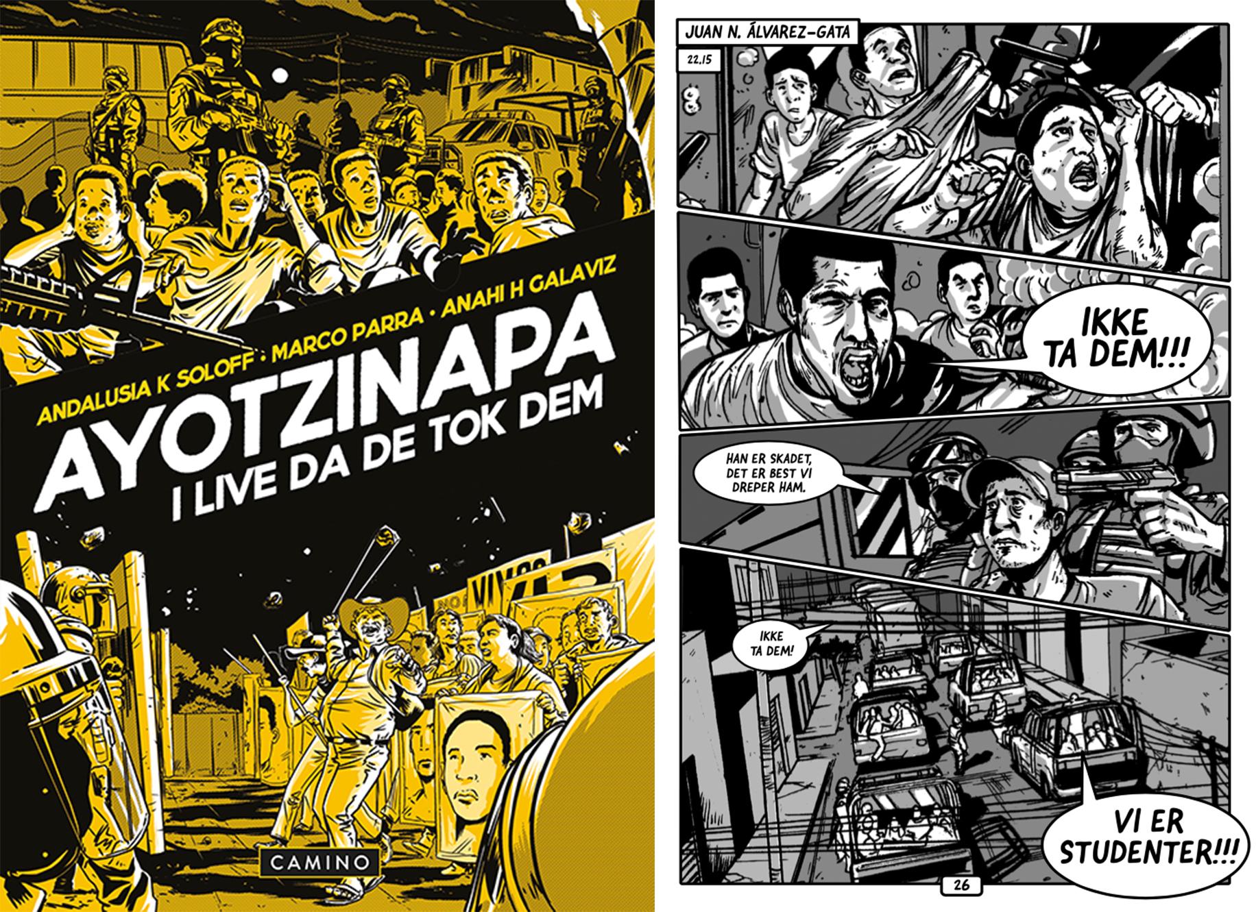 Omslag for boka Bokmelding Ayotzinapa: I live da de tok dem: Viktig, men kaotisk teikneserie